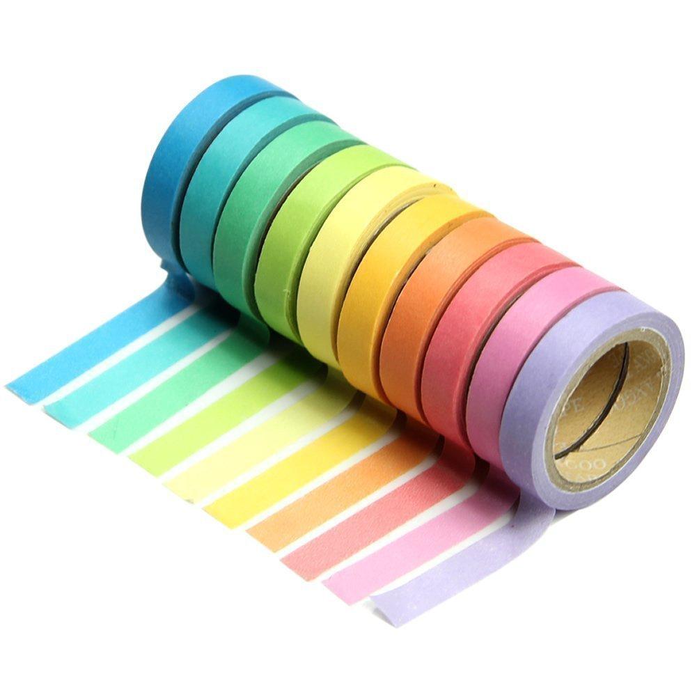 Dpist Washi Tape Set 10x Decorative Washi Rainbow Sticky Paper